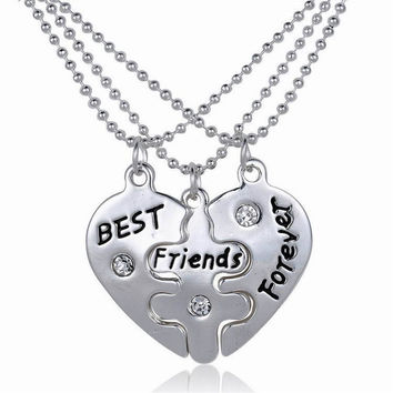 For Women Party Jewelry Gift 3pc Vintage Best Friend Friendship BFF Broken Heart Yin Yang Pendant Necklace SM6