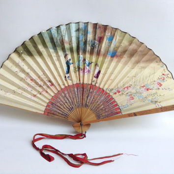 Antique hand-painted Asian Paper Fan with Children Playing
