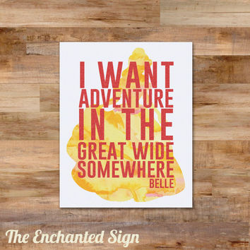 Belle Inspired Watercolor digital print with glitter - 8 x 10 printable - I want adventure in the great wide somewhere