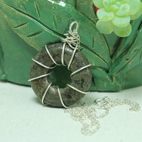 Pyrite pendant sterling silver Wire wrapped jewelry