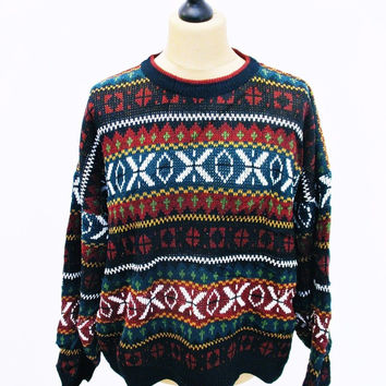 Vintage 1980s Crazy Pattern Psychedelic Striped Sweater Jumper 2XL