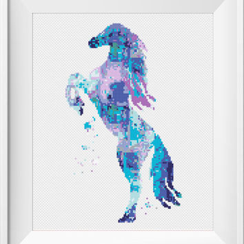Horse Set Cross Stitch Pattern, Modern Embroidery Chart, Cute Animals, Watercolor Art Printable PDF Instant Download Birthday Gift Blue  DIY