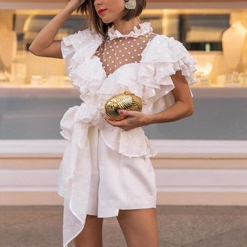 Elegant Lace and Ruffled Sleeve Accented Mesh Dotted Chiffon Sash Blouse