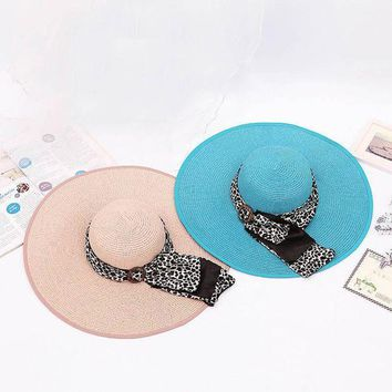 PEAP78W Fashion Summer Women Sun Hat Leopard Button Ribbon Decorate Sunscreen Foldable Straw Hats For Beach Wide Large Brim Hat