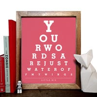Little Mix, Your Words Are Just Water Off My Wings, Eye Chart, 8 x 10 Giclee Art Print, Buy 3 Get 1 Free