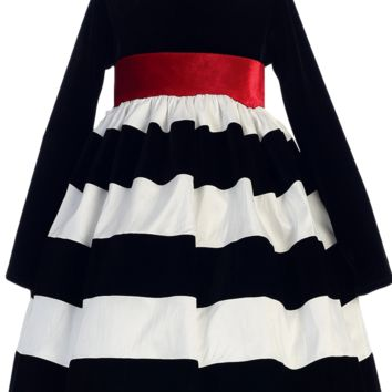 Black Velvet & White Striped Taffeta Girls Holiday Dress 6m-10