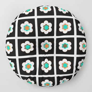 Modern Flowers In Black Tiles Design Floor Pillow by inspiredimages