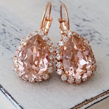 Blush Pink crystal teardrop earring, Rose gold Drop earring, Swarovski Earring, Bridal earring, Bridesmaid gift, Dangle earrings gold silver