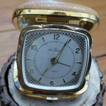 Vintage Seth Thomas 7 Jewels Travel Alarm Clock Made in Germany Great Vintage Decor Gears Parts for Jewelry Altered Art