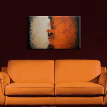 32 inch Original Abstract Textured Acrylic Painting Orange Earth on Canvas Wall Decor