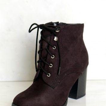 Lace-Up Ankle Booties Black