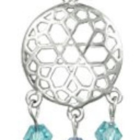 14g Surgical Steel Aqua Double Jeweled Dream Catcher with Feathers Sexy Dangle Belly Button Ring