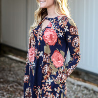 Skyline Floral Tunic Dress - Navy