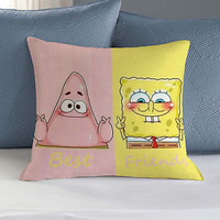 best friends spongebob and patrick  pillow printing case 2side 20x20
