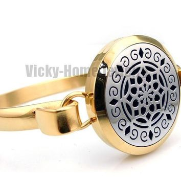 Round Silver and Gold Lotus Aromatherapy Diffuser Locket Bangle
