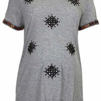 MATERNITY Folk Mirror Embroidered Tee - Grey