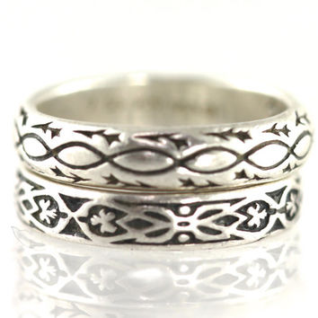 Sterling Silver, Stacking Rings, Pair, Stackable, Band, Vintage, Boho, Gypsy, Hippie, Love, Amour