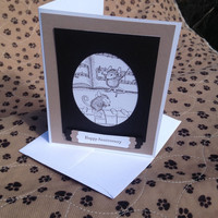 Music Anniversary Card, Mouse House Stamped Anniversary Card, Happy Anniversary Card, Choice of 3 Different Inscriptions