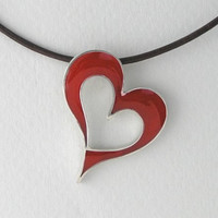 Silver and Resin Necklace  Red Heart Pendant by DaliaShamirJewelry