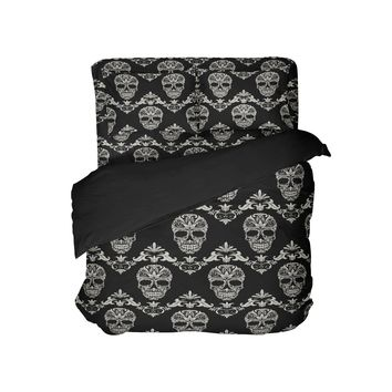 Decorative Sugar Skull Duvet Cover Eco friendly Bedding from Extremely Stoked