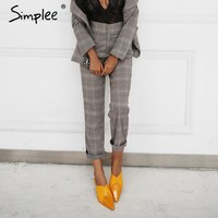 Vintage grid casual pants women bottom Zipper suit pants trousers female  autumn streetwear capris winter pants