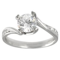 Brinley Co Sterling Silver CZ Round Cut Engagement Ring