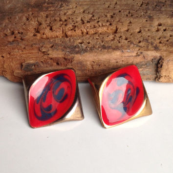 Vintage Earrings, Red and Blue Enamel Earrings, Base Metal, Diamond Shaped, Artisan Earrings, Post Earrings, 80's Earrings, 1980's Earrings