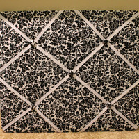 Black Floral Memo Board fabric covered memo Board- Wall decor- Office decor-Pin Board
