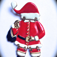 Santa Claus vintage brooch, Christmas pins, Holiday Jewelry, Gift for Her, Christmas gift ideas- Santa Claus- teacher gifts- vintage jewelry