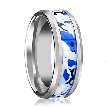 Tungsten Camo Ring - Blue and White Camouflage - Tungsten Wedding Band - Beveled - Polished Finish - 8mm - Tungsten Wedding Ring
