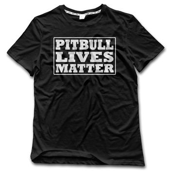 Pitbull Lives Matter Printed T-Shirt - Men's Crew Neck T-Shirt