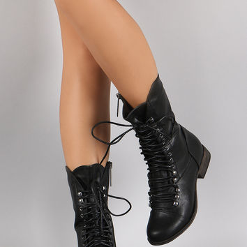 Breckelle Combat Lace Up Mid Calf Boots