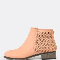 Perforated Shaft Zip Up Bootie BLUSH