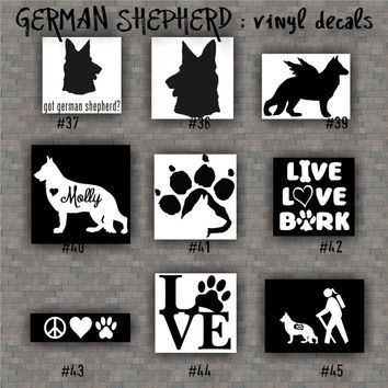 GERMAN SHEPHERD vinyl decals - 37-45 - vinyl sticker - car window stickers - working dog - pets - dog decal