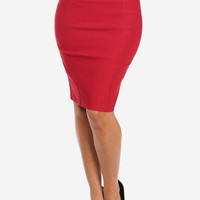 Red Thick Banded Pencil Skirt