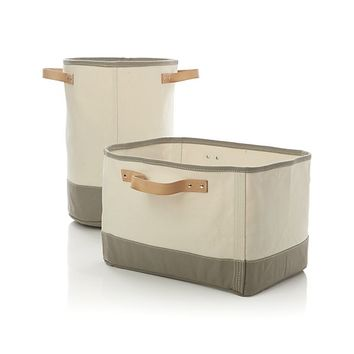 Canvas Round Bin with Leather Handles.