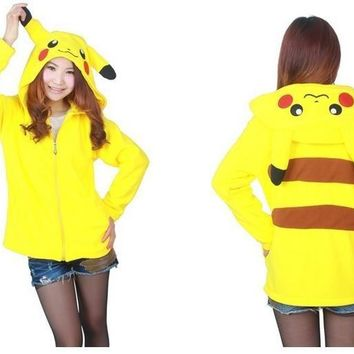 Kawaii Anime Animal Women Men Pink Hoodie Cartoon Fleece Jacket Cosplay Hoody Pokemon Pikachu Panda Stitch Umbreon Bear