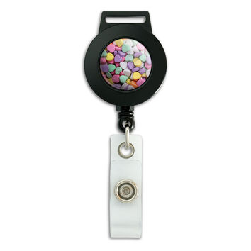 Candy Hearts Love Valentines Anniversary Wedding Shower Retractable Badge Card ID Holder