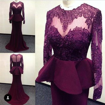 New Long Sleeve Red Wine Prom Dresses 2017 Prom A-Line  Gowns Prom Floor Length vestido de festa dress for graduation Engament