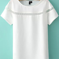 White Short Sleeve Cutout Top