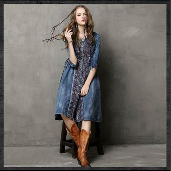 Button Front Vintage Denim Knee Length Dress
