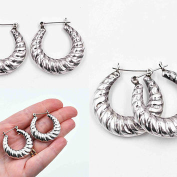 Vintage Sterling Silver Hoop Pierced Earrings, Spiral, Etched, Puffy Silver Hoops, Latch Back, 10.8 Grams, Large & Lovely! #c510
