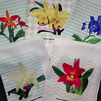 SALE! Orchid towels half price, assorted, flower, photo, floral kitchen towel, hand towel, gardener gift, all occasion gift, overstock