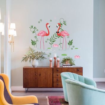 Flamingos Wall Decal Stickers Home/Store Decor DIY Removable Art Vinyl Mural For Living Room/Sofa/Club QTB620 Animal