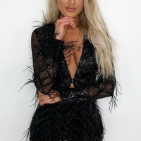 Feather Fantasy Black Sheer Mesh Geometric Pattern Long Sleeve Sequin Feathers Jacket and Shorts Two Piece Set