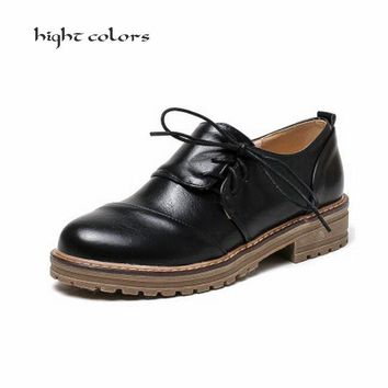 New Womens Fashion Creepers Lace Up Oxfords College Casual Gothic Shoes Slip On Solid Oxford Shoes For Women Black Green Size 43