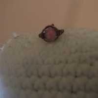 Teeny Tiny Copper Wire Wrapped Pinky Ring Size 3 with Genuine Pink Rhodochrosite Gemstone Free Shipping