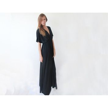 Batwing sleeves, V-Neck & Back,  Maxi dress (Black or Taupe)