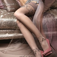 Ballerina Hosiery 238 Hold Up Thigh High Floral Stockings w/ Embroidery