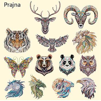 Prajna Animals Tiger Cat Iron on Patches Transfers For Clothes T shirt Jacket Hot Thermal Vinyl Heat Transfer Stickers Applique